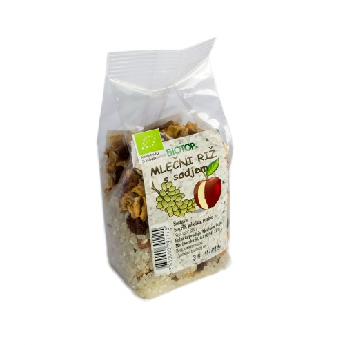 BIO mlečni riž z jabolčnimi kockami Biotop 250g.