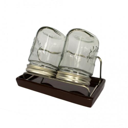 Kalilnik dvodelni stekleni z glinenim podstavkom in ohisjem