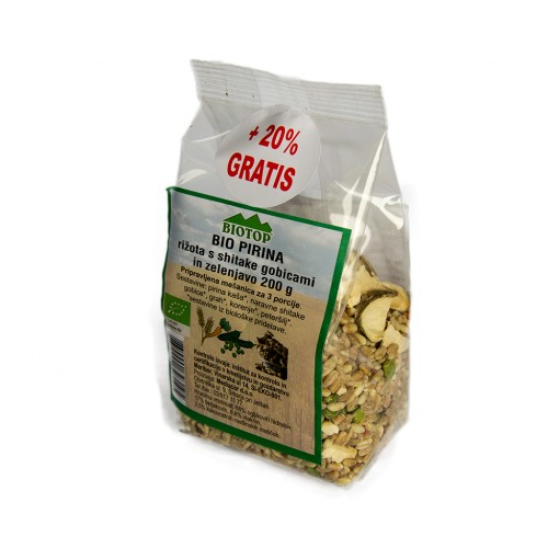 BIO pirina rižota s šitaki gobicami in zelenjavo Biotop 200g. + 20%